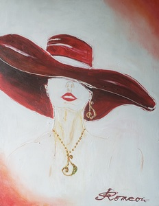 Romeo DOBROTA - Painting - Fair Lady in Red, Acrylic on canvas, 22x28 inch, SKU 1174