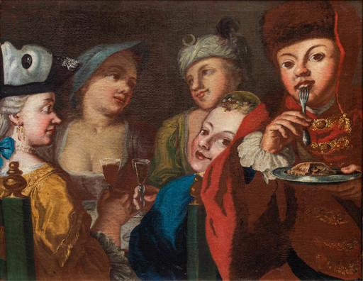 Pietro FABRIS - Gemälde - Convivial scene