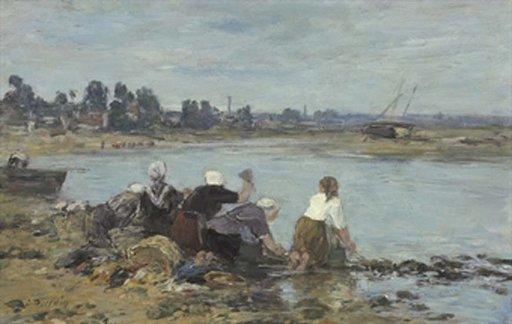 Eugène BOUDIN - Peinture - Laveuses au bord de la Touques