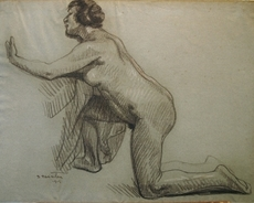 Théophile Alexandre STEINLEN - Dibujo Acuarela - Kniender Akt (Studie einer kauernden Frau)