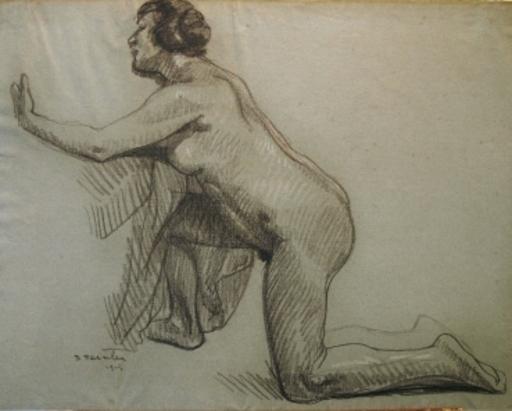 Théophile Alexandre STEINLEN - Disegno Acquarello - Kniender Akt (Studie einer kauernden Frau)