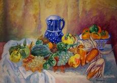 Henri MANGUIN - Pintura - Nature Morte, Melon, Poires, Mais et Pot Bleu