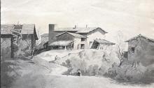 Alexandre CALAME - Dibujo Acuarela - Vue du Village