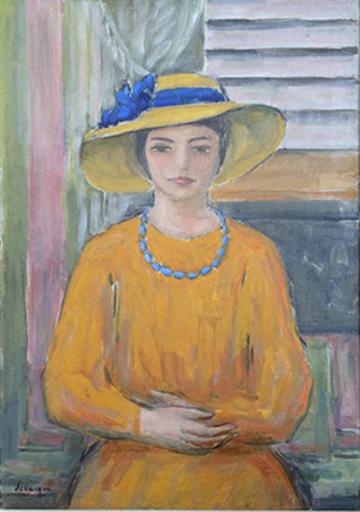 Henri Baptiste LEBASQUE - Painting - Jeune fille a la robe et au chapeau jaunes
