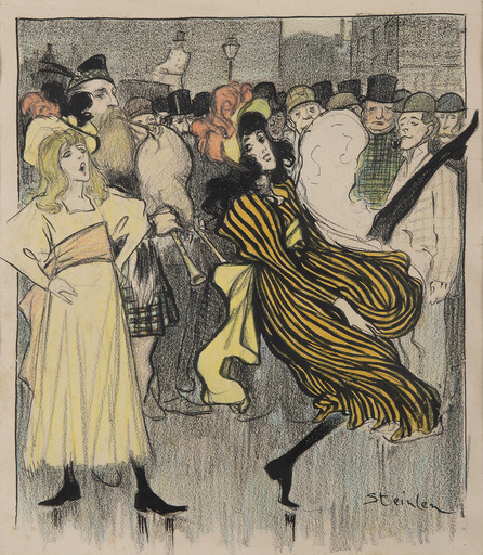 Théophile Alexandre STEINLEN - Dessin-Aquarelle - Danseuse écossaire dans une rue de Londres