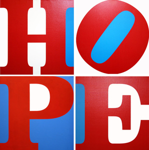 Robert INDIANA - Pintura - HOPE (R/W/B)