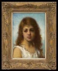Alexei Alexeievich HARLAMOFF - Pintura - Head of a Young Girl