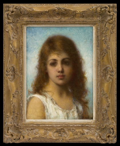 Alexei Alexeievich HARLAMOFF - Peinture - Head of a Young Girl