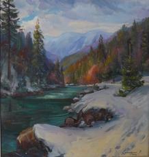 Vasil SVALJAVCIK - Peinture - Winter in den Karpaten