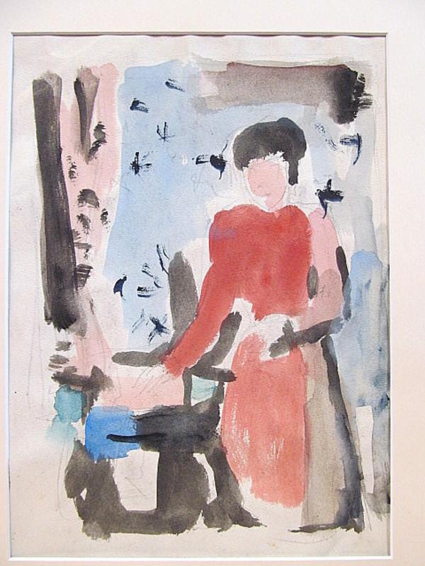 Erich HARTMANN - Disegno Acquarello - Stehende Frau am Stuhl