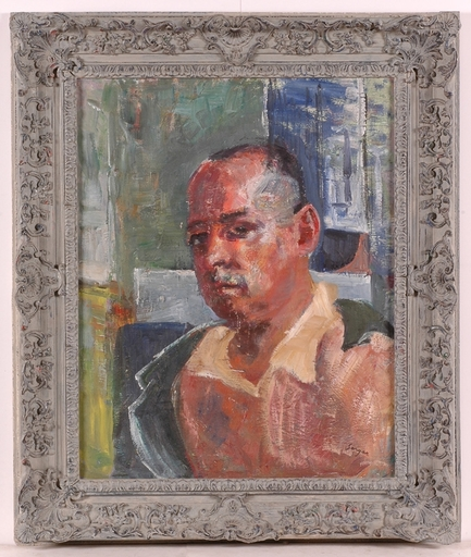 """Frederick SERGER - Painting -  """"Self Portrait"""", Oil on Canvas, 1940's"""