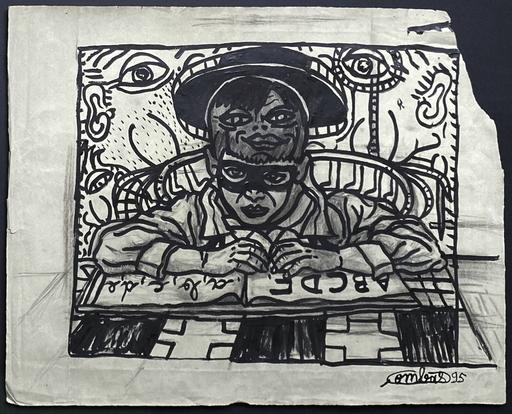 Robert COMBAS - Drawing-Watercolor - LE PETIT JUSTICIER RÊVE DEVANT SON ABÉCÉDAIRE