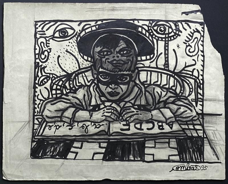 贡巴斯 - 水彩作品 - LE PETIT JUSTICIER RÊVE DEVANT SON ABÉCÉDAIRE