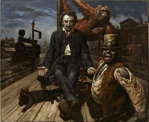 Vasily SHULZHENKO - Painting - Edgar Allan Poe the end