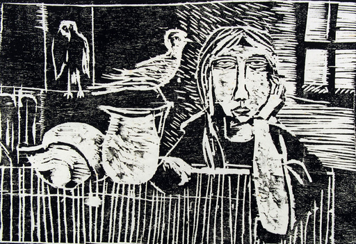 Jacob GILDOR - Print-Multiple - Woman StillLife and Birds