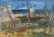 Jean DUFY - Peinture - Port de pêche