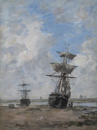 Eugène BOUDIN - Pittura - Voiliers, marée basse