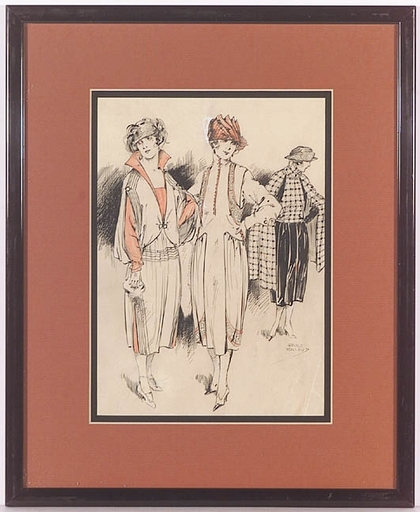 "Gret KALOUS-SCHEFFER - Dibujo Acuarela - ""Art Nouveau Fashion"", 1910s"