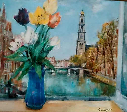 Marcel CRAMOYSAN - Painting - Printemps d'Amterdams