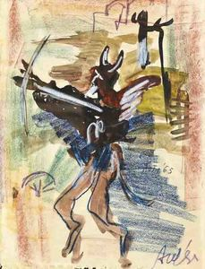 Filippo AUTI - Zeichnung Aquarell - Lucifero