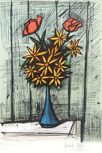 Bernard BUFFET - Print-Multiple - Bouquet de marguerites aux deux roses