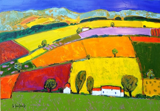 Georges COULOMB - Painting - Patchwork aux trois mas