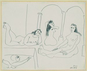 Pablo PICASSO - Drawing-Watercolor - Le Bain (The Bath)