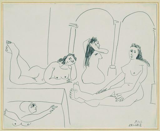 Pablo PICASSO - Dibujo Acuarela - Le Bain (The Bath)