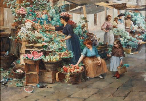 """Stefano NOVO - Peinture - """"Markt in Venedig"""""""