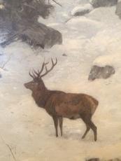Josef SCHMITZBERGER - Painting - Hirsch auf verschneiter Waldlichtung