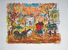 Henry Maurice D'ANTY - Grabado - Calèches devant les champs Elysées