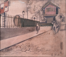 Alfred RETH - Drawing-Watercolor - Animated Street