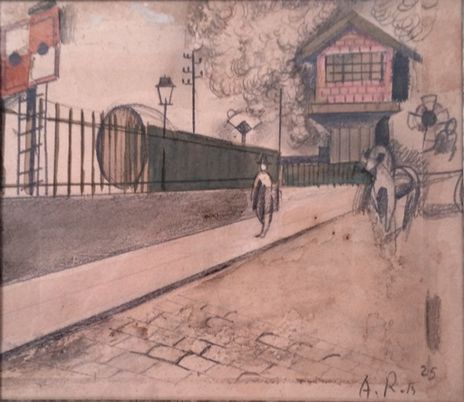 Alfred RETH - Dessin-Aquarelle - Animated Street