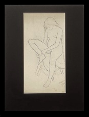 Marie Vorobieff MAREVNA - Drawing-Watercolor - Pointillist style portrait of a nude Lady
