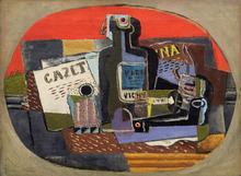 Henri HAYDEN - Pintura - Bouteille et journal