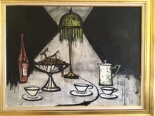 Bernard BUFFET - Painting - Compotier aux Raisins & Tiffany Lamp