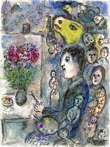 Marc CHAGALL - Drawing-Watercolor - Peintre au Chevalet au Bouc Jaune