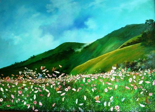U MIN SOE - Painting - wild flowers on hills