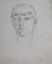 Henryk BERLEWI - Dibujo Acuarela - Portrait of Riri