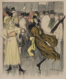 Théophile Alexandre STEINLEN - Dessin-Aquarelle - Danseuse écossaise dans une rue de Londres