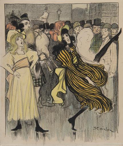 Théophile Alexandre STEINLEN - Disegno Acquarello - Danseuse écossaise dans une rue de Londres