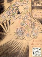 """Nathalie GONTCHAROVA (1881-1962) - A draft of a poster for Manuel deFalla """"El Amor Bruje"""""""