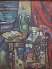 Pinchus KREMEGNE - Peinture - Book, Vase and Glass on Table with Chair