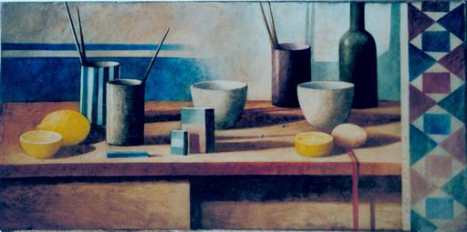 Marcello SCUFFI - Painting - NATURA MORTA CON FILO ROSSO