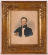 "Josef KRIEHUBER - Miniature - ""Portrait of a Gentleman"", 1833, Watercolor"