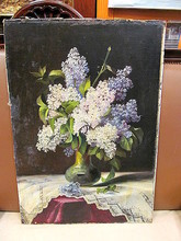 H.O. SCHIELE - Painting - Fliederstrauß in Vase