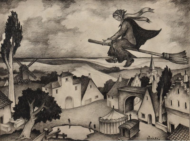 "Raymond DIERICKX - Drawing-Watercolor - ""LA SORCIERE"""