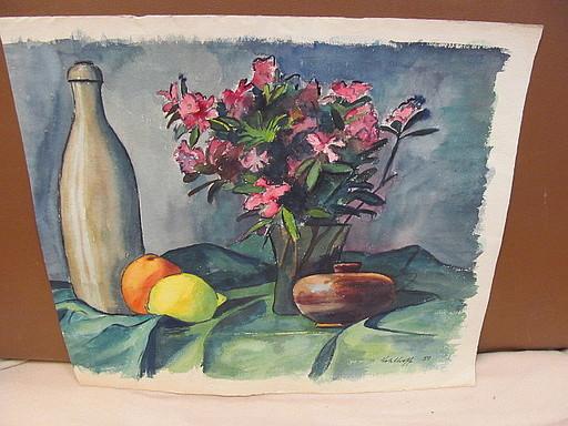 Walter KOHLHOFF - Disegno Acquarello - Stilleben mit Blumenstrauß