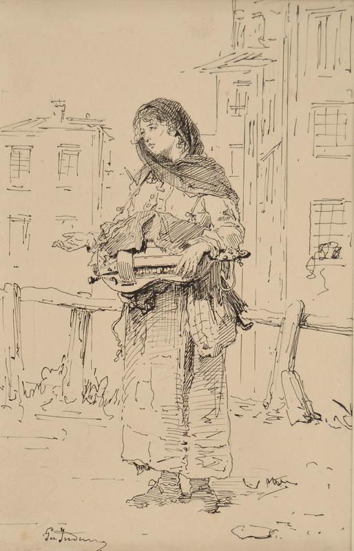 Gerolamo INDUNO - Drawing-Watercolor - Fame e Freddo