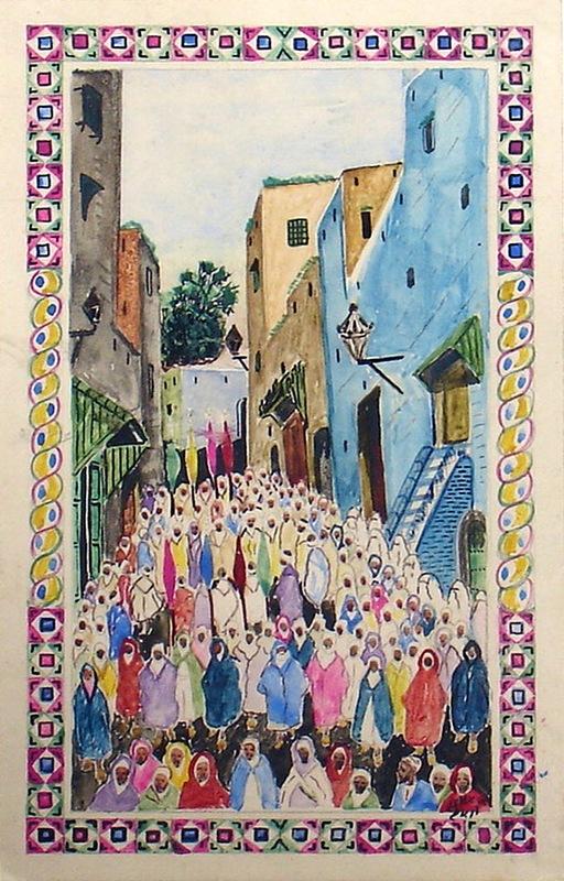 Mohamed BEN ALI R'BATI - Dibujo Acuarela - MAROC- Pèlerinage - fête